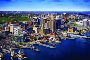 Aerial view of harbour and city. Halifax . Nova Scotia. Canada